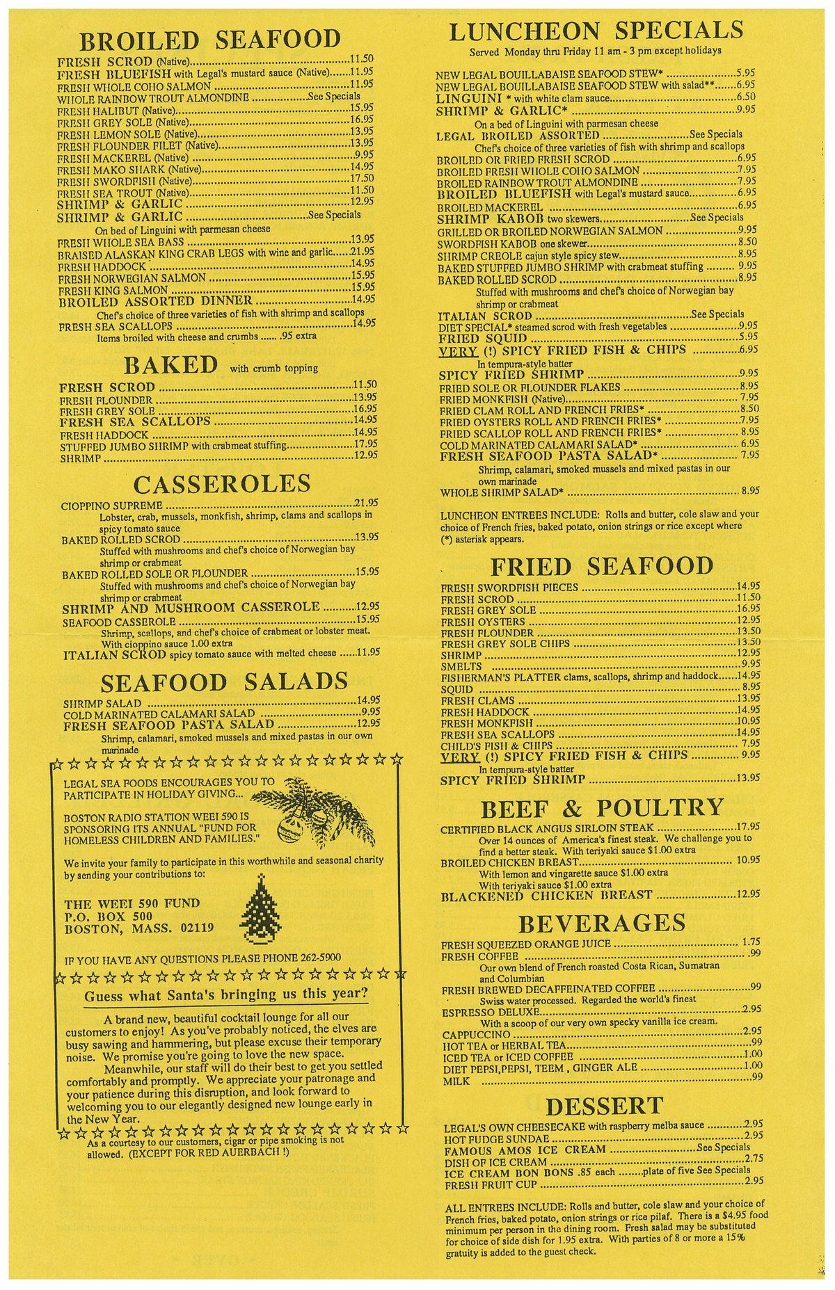 Legal Sea Foods menu 2 1987 park plaza