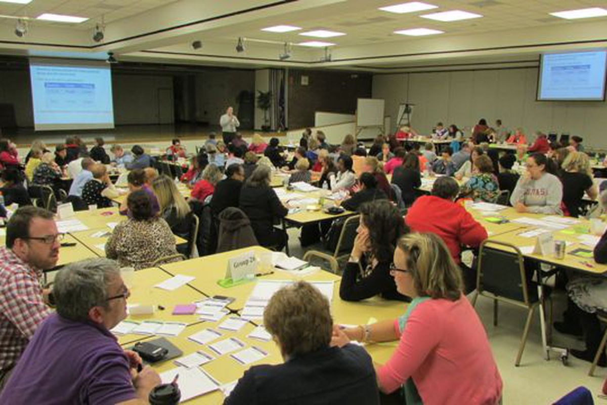 About 150 teachers attended Wednesday's TeachPlus event to learn more about teacher compensation options. (Scott Elliott)