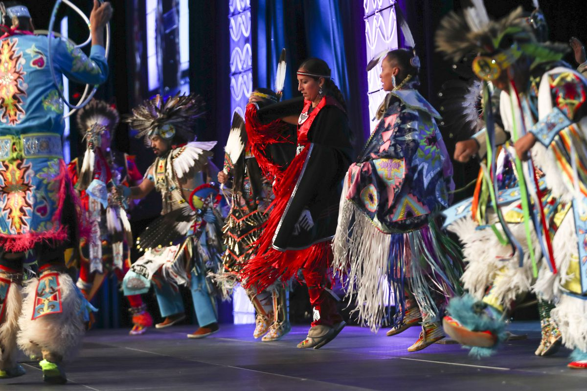 Tribal dancers from the Northern Ute, Navajo and Hopi tribes perform during opening day of the 68th United Nations Civil Society Conference at the Salt Palace Convention Center on Monday.