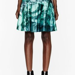 """<a href=""""http://www.ssense.com/women/product/proenza_schouler/teal_cave_printed_satin_tulip_skirt/76065"""">Proenza Schouler teal cave printed satin tulip skirt</a>, $332.80 (was $1385)"""