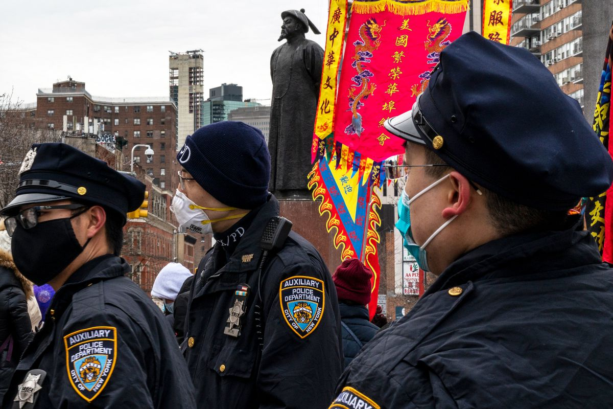 NYPD auxiliary officers attend Lunar New Year celebrations in Manhattan's Chinatown, Feb. 12, 2021.
