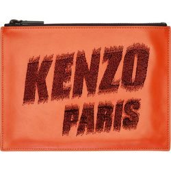 "<b>Kenzo</b> pouch, <a href=""https://www.ssense.com/women/product/kenzo/orange-leather-flocked-logo-zip-pouch/114567"">$105</a>"