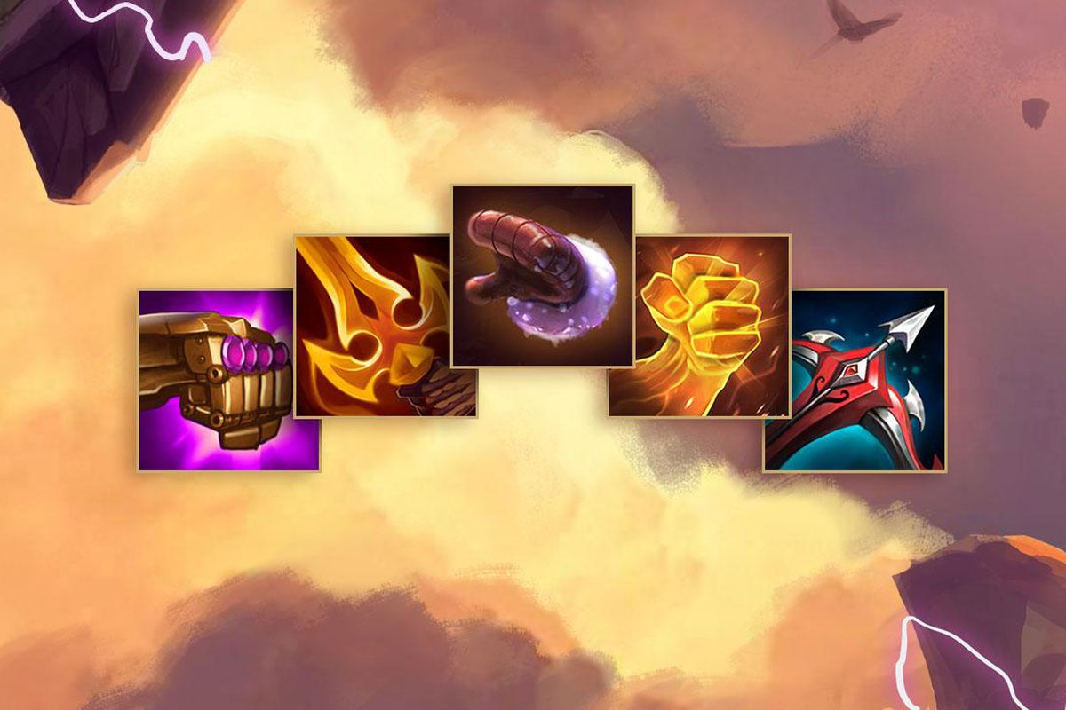 Five items sit among the cloudy Teamfight Tactics background, including Mittens, a golden fist, and another fist that resembles Vi's gauntlets