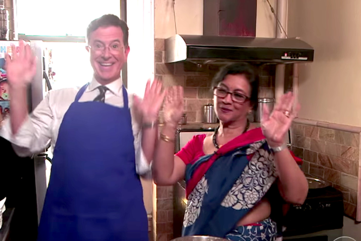 Watch Stephen Colbert Get Schooled In The Art Of Indian Food Eater