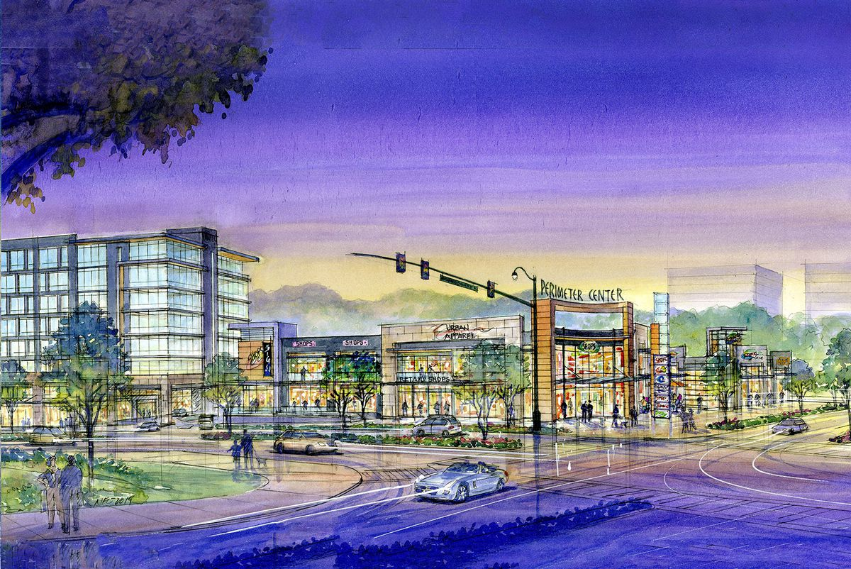 Rendering of retail shops and a multi-story building from the street.