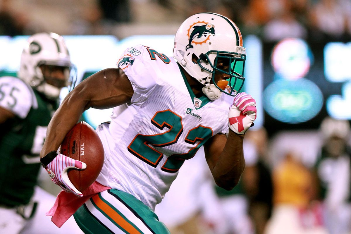 EAST RUTHERFORD, NJ - OCTOBER 17:  Reggie Bush #22 of the Miami Dolphins runs the ball against the New York Jets at MetLife Stadium on October 17, 2011 in East Rutherford, New Jersey.  (Photo by Nick Laham/Getty Images)