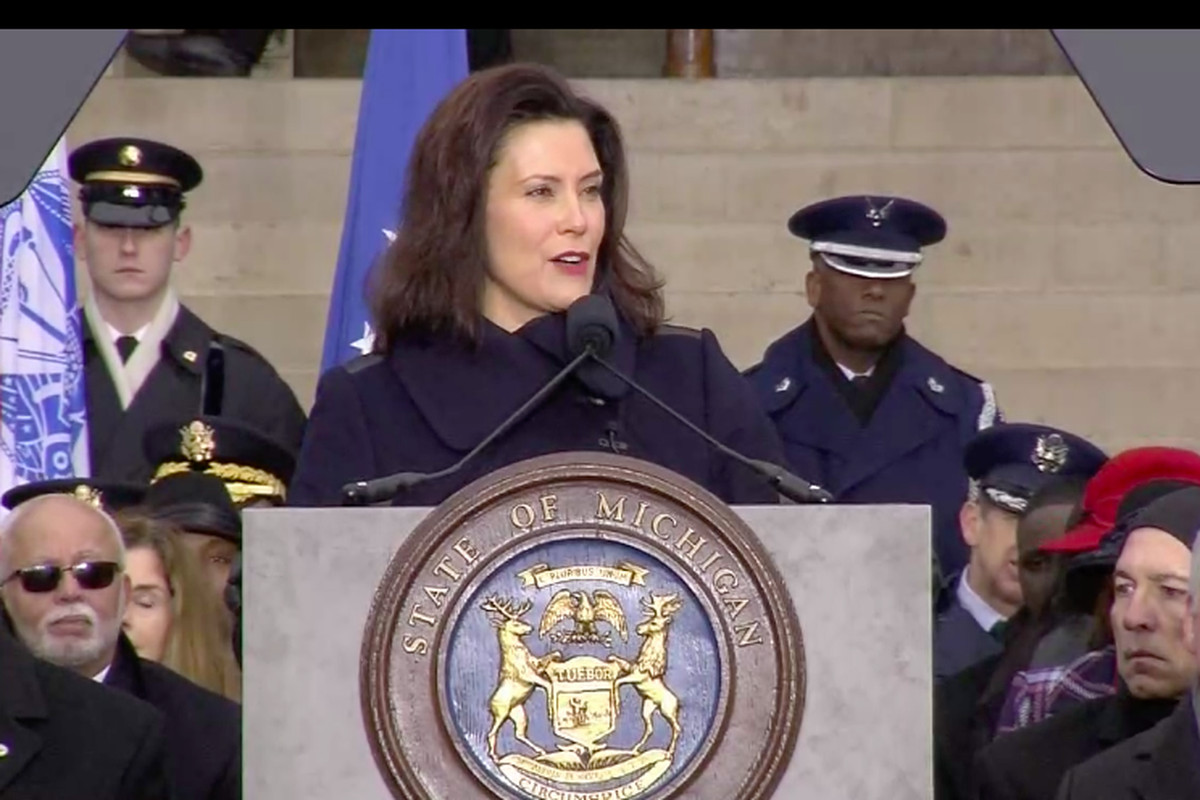 Michigan Gov. Gretchen Whitmer vowed to improve schools during her swearing-in ceremony on January 1, 2019.