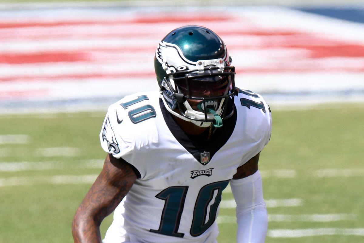 DeSean Jackson #10 of the Philadelphia Eagles plays against the Washington Football Team at FedExField on September 13, 2020 in Landover, Maryland.