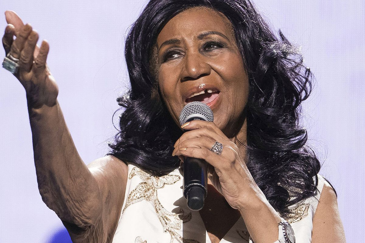 """Aretha Franklin performs at the world premiere of """"Clive Davis: The Soundtrack of Our Lives"""" at Radio City Music Hall in New York in 2017."""