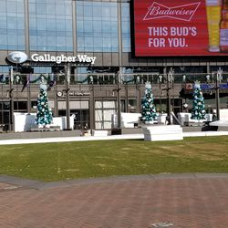 Ongoing setup of ice rink and holiday decorations
