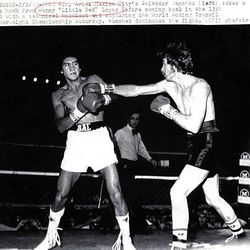 """Mexico City's Salvador Sanchez, left, takes a right hook from Danny """"Little Red"""" Lopez before coming back and capturing the World Boxing Council Featherweight Championship in 1980. Although Lopez, now 57, will be inducted into the Hall of Fame June 13, he works a construction job to support his family financially."""