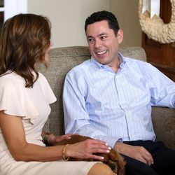 Julie Chaffetz looks at her husband, Rep. Jason Chaffetz, R-Utah, as he talks about his resignation at their home in Alpine on Thursday, May 18, 2017. Between them is their dog, Ruby.