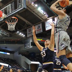UConn's Azura Stevens (23) puts up a shot over Notre Dame's Kathryn Westbeld (33) during the Notre Dame Fighting Irish vs UConn Huskies women's college basketball game in the Women's Jimmy V Classic at the XL Center in Hartford, CT on December 3, 2017.