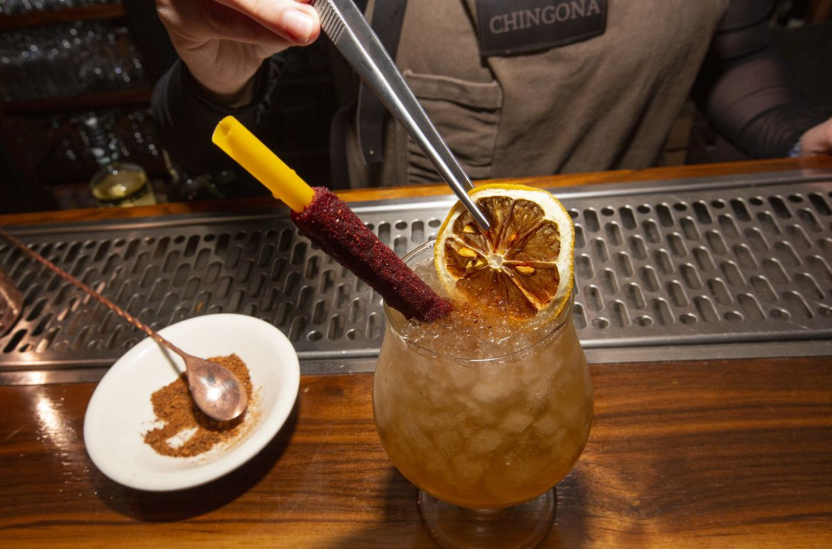 A lavish drink with ancho and blood orange.
