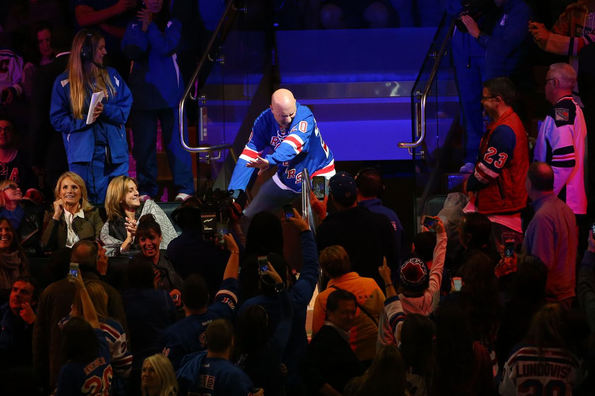 Dancing Larry has every reason to dance. The Rangers not only won all their games, they're at the top of the division.