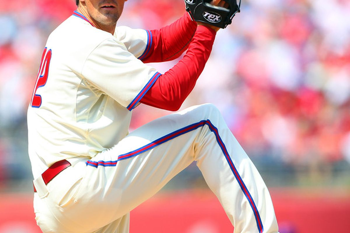 PHILADELPHIA, PA - APRIL 15: Cole Hamels of the Philadelphia Phillies delivers a pitch against the New York Mets during an MLB baseball game on April 15, 2012 at Citizens Bank Park in Philadelphia, Pennsylvania. (Photo by Rich Schultz/Getty Images)
