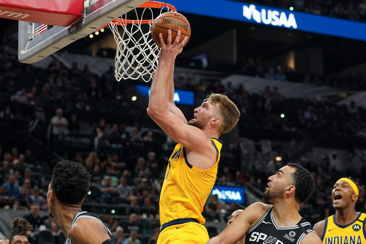Indiana Pacers forward Domantas Sabonis shoots in the second half against the San Antonio Spurs at the AT&T Center.