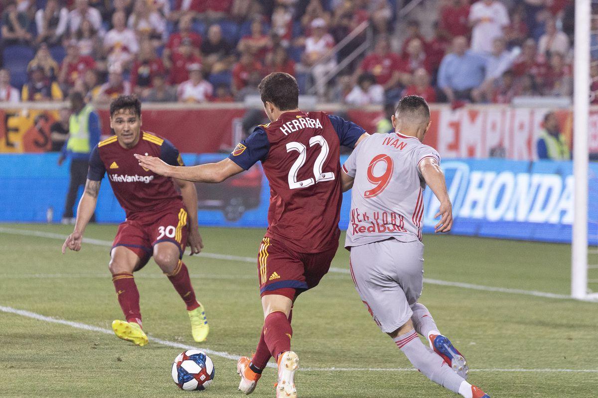 Aaron Herrera (22) of Real Salt Lake controls ball during...