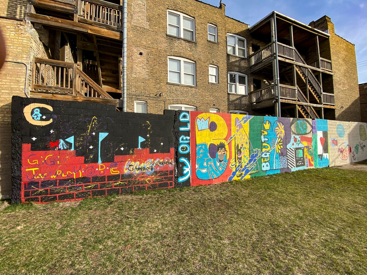 The left side of the mural near Division Street and Springfield Avenue features the names of celebrities whose recent deaths were unexpected — including Kobe Bryant, Juice WRLD, XXXTentacion and Cameron Boyce.