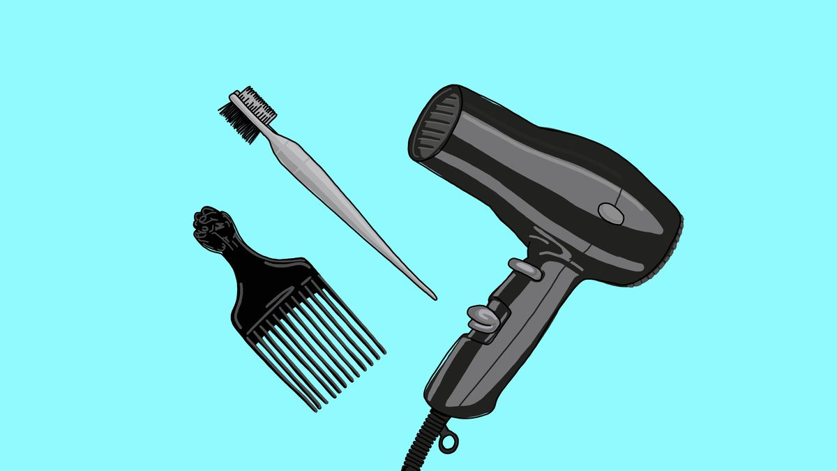 Illustration of a black pick comb, a black edge brush, and a black hair dryer against a bright-blue background
