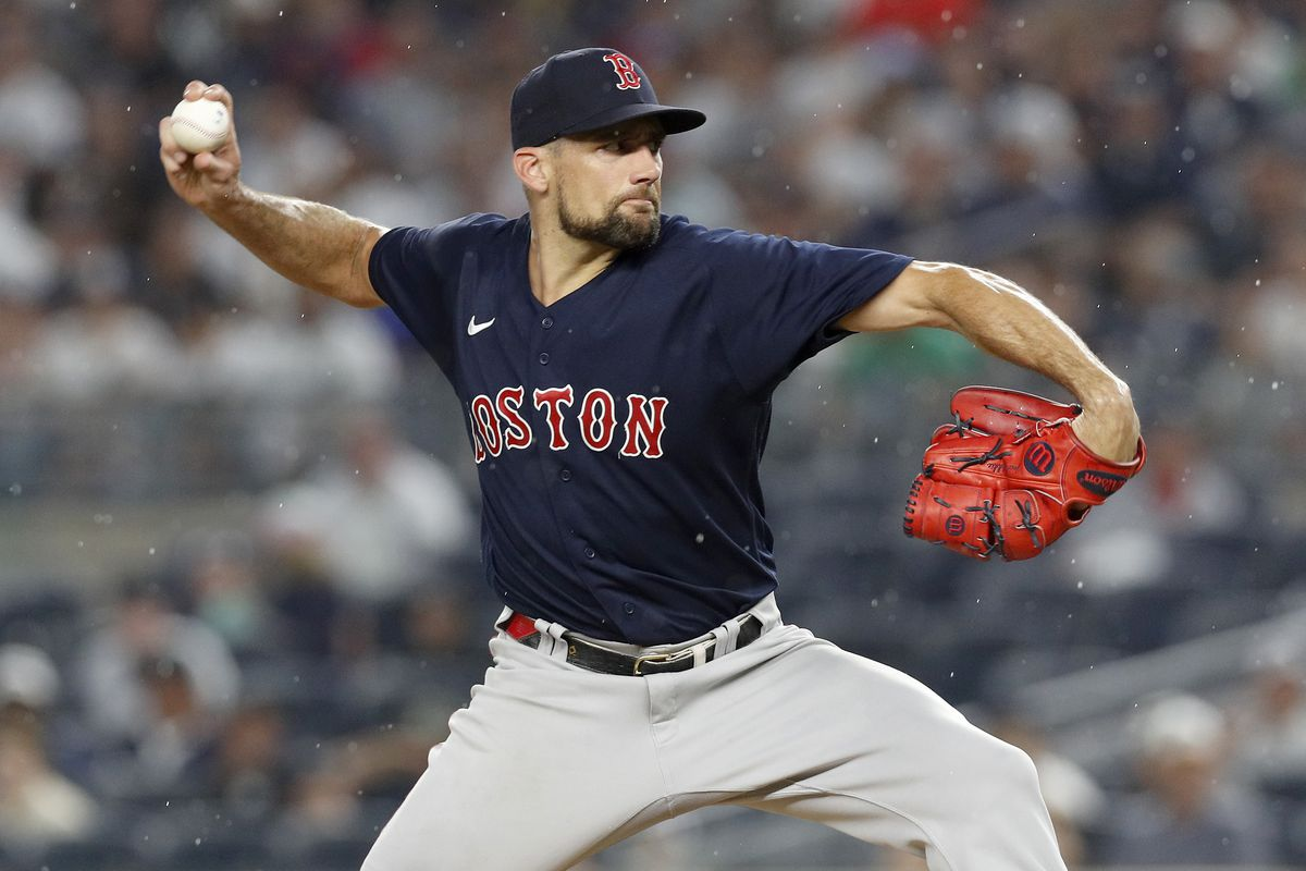 Nathan Eovaldi #17 of the Boston Red Sox in action against the New York Yankees at Yankee Stadium on July 17, 2021 in New York City.