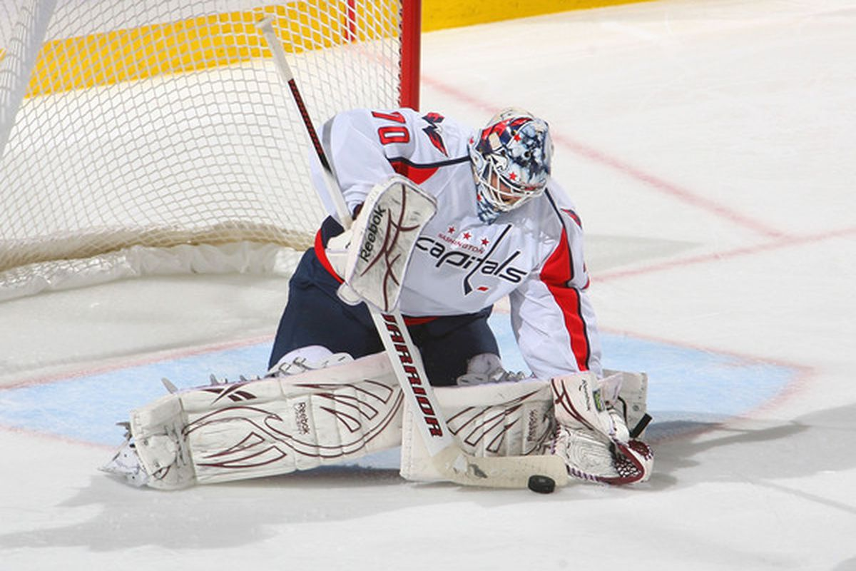 BUFFALO NY - NOVEMBER 13: Braden Holtby #70 of the Washington Capitals controls the puck against the Buffalo Sabres  at HSBC Arena on November 13 2010 in Buffalo New York.  (Photo by Rick Stewart/Getty Images)