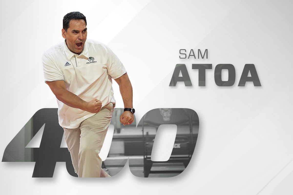 Head Utah Valley women's volleyball coach Sam Atoa celebrates after his Wolverines defeated ACC foe NC State in September. On Saturday, the 20th-year head UVU coach recorded his 400th career victory in a 3-0 sweep at Grand Canyon.