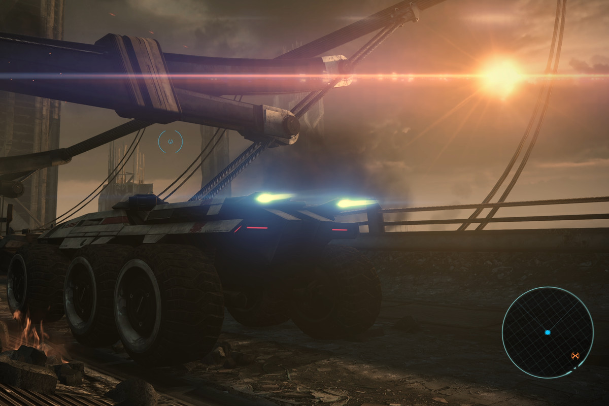 The Mako and some background scenery in Mass Effect Legendary Edition
