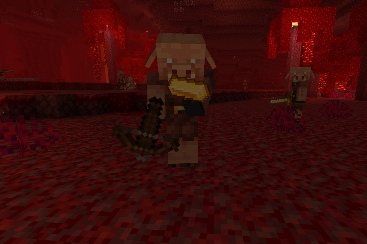 A Minecraft Piglin inspects a Gold Ingot before giving another item in return