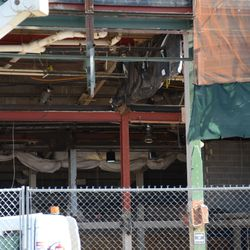 9:53 a.m. View of the space under the marquee. The bottom of the grandstand is visible at the top of the photo -