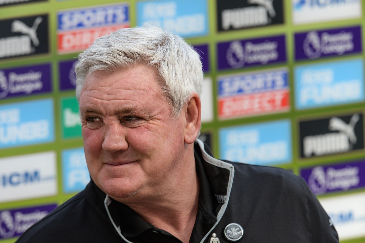 Steve Bruce grins as he finishes up his media duties after the win against West Ham