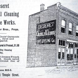 Deseret Chemical Cleaning and Dye Works. Interested in seeing how many enterprises once bore the name ?Deseret?? Thumb through a Polk Business Directory from the 20th century ? a predecessor of, and later a competitor to, the phone book. This image, for instance, is an ad for a dry-cleaning and clothing repair firm on West Temple Street from the 1900 Polk directory in the LDS Church Historic Library. There are many other firms listed: Deseret Brokerage & Commission Co., Deseret Gold Mine & Milling Co., Deseret Mandolin Club, Deseret Woolen Mills. The 1920 directory also lists Deseret Oil & Refining Co., Deseret Furniture Co. ? and, of course, a few businesses still among us. Photo by Ray Boren