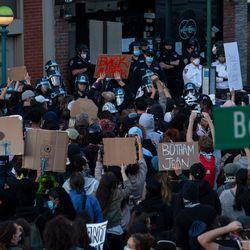 Hundreds of protesters blocked traffic along Flatbush Avenue.