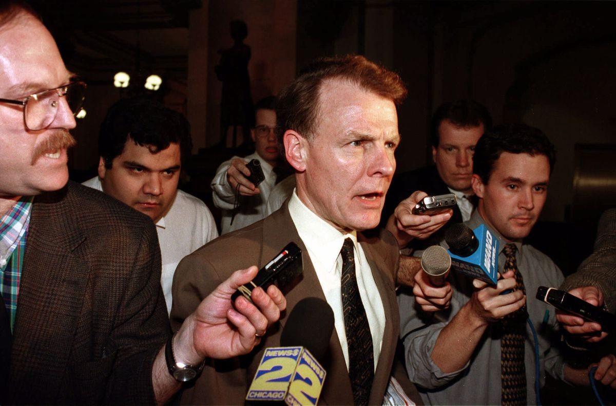 House Speaker Michael Madigan, D-Chicago, is surrounded by the news media at the Illinois State Capitol in Springfield in 1999.