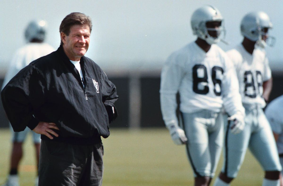 Nick Lammers 5/2/97 Tribune Sports Raiders coach Joe Bugel is happy with the look of minicamp.