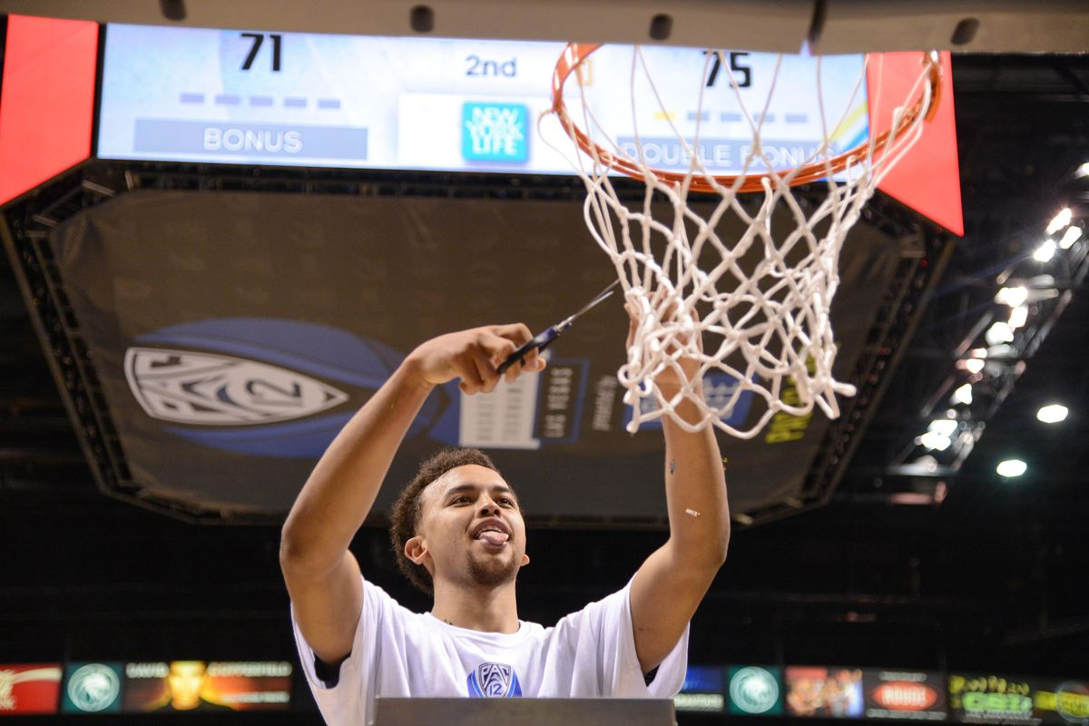 Kyle Anderson cutting down the nets from last year's PAC 12 Championship.