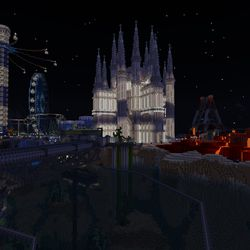 """The """"Imagination Island"""" world in the <em>Minecraft</em> with RTX beta — ray tracing disabled"""