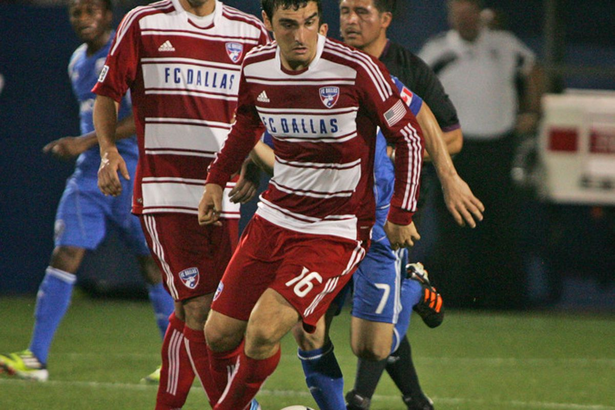 FRISCO, TX - APRIL 14:  Bobby Warshaw #16 of FC Dallas moves upfield against the Montreal Impact at FC Dallas Stadium on April 14, 2012 in Frisco, Texas.  Dallas defeated Montreal 2-1.  (Photo by Brett Deering/Getty Images)