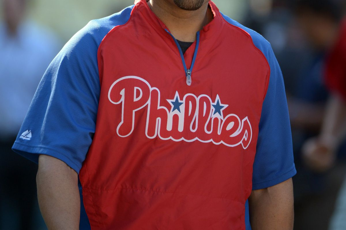 Jul 16, 2012; Los Angeles, CA, USA; Philadelphia Phillies third baseman Placido Polanco (27) before the game against the Los Angeles Dodgers at Dodger Stadium. Mandatory Credit: Kirby Lee/Image of Sport-US PRESSWIRE