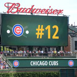 1:04 p.m. Kyle Schwarber's number displayed on the right field video board, during the lineup announcement -