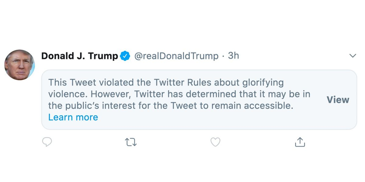 Twitter Restricts New Trump Tweet For Glorifying Violence The Verge