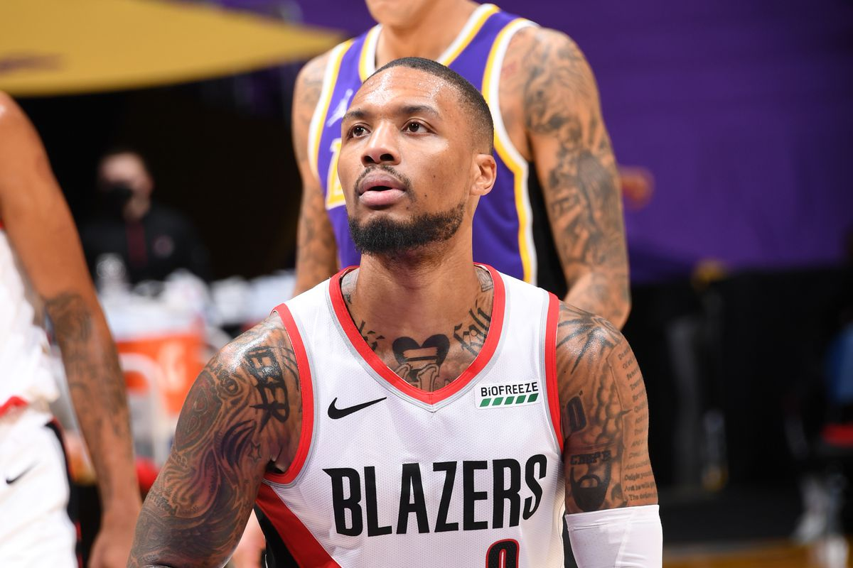 Damian Lillard #0 of the Portland Trail Blazers shoots a free throw during the game against the Los Angeles Lakers on February 26, 2021 at STAPLES Center in Los Angeles, California.