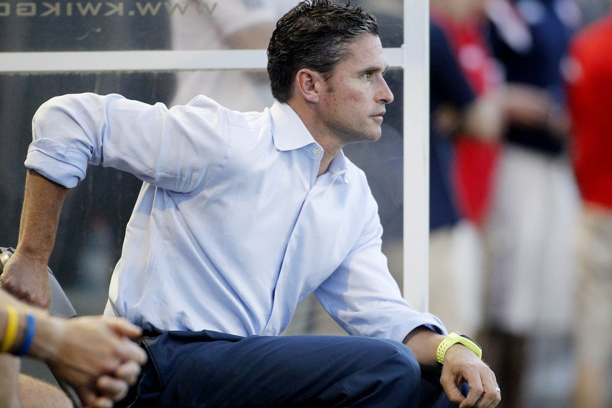 Jay Heaps looks on during the Revs' win over Rochester in the U.S. Open Cup.