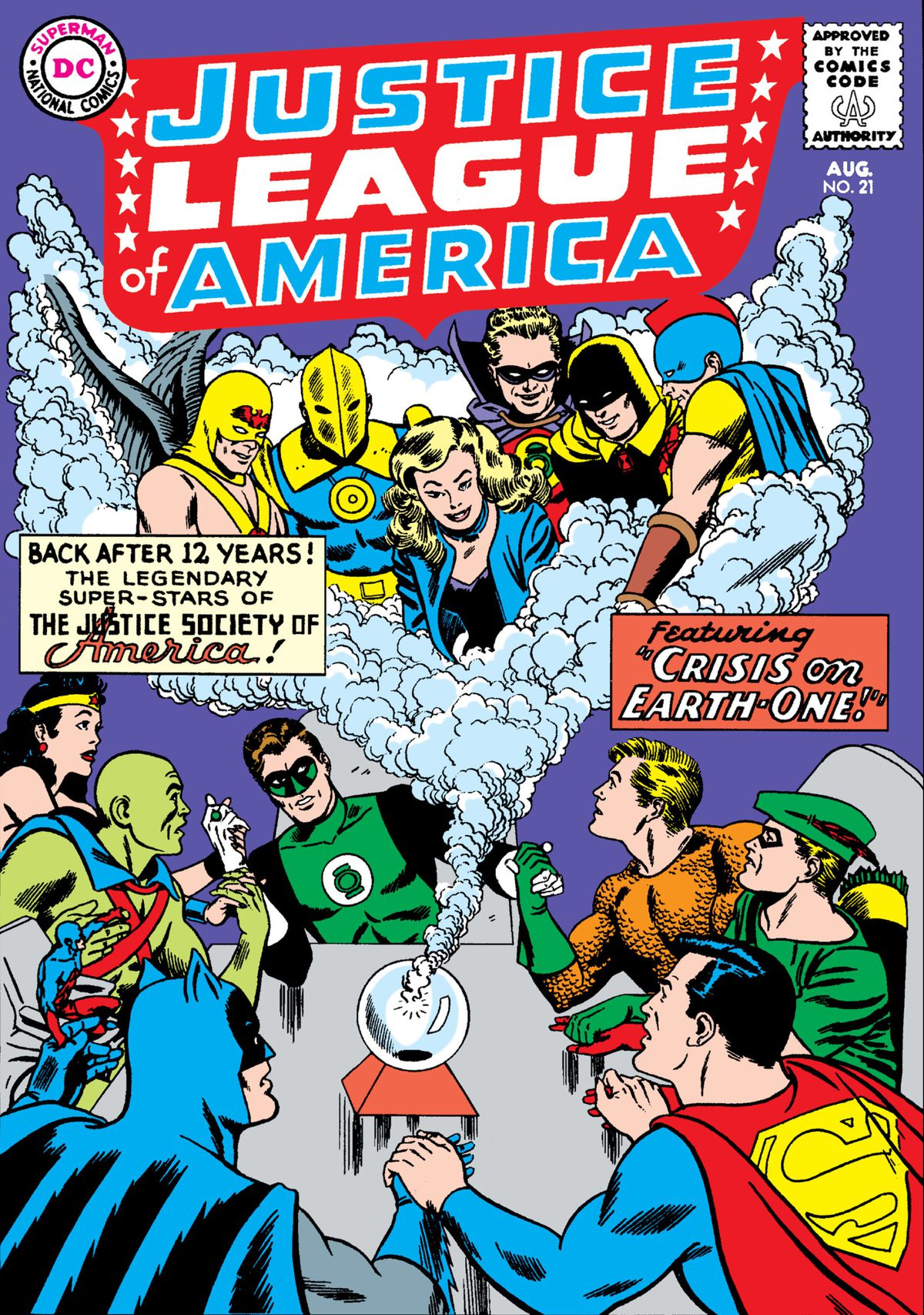 The Justice League have a seance to contact the Justice Society on the cover of Justice League of America #21, DC Comics (1963).