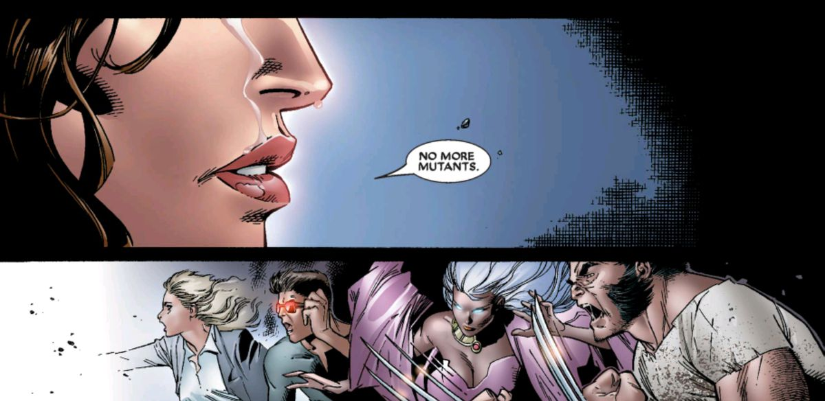 Wanda Maximoff says the words tearfully, as a white light consumes the X-Men, in House of M #7, Marvel Comics (2007).
