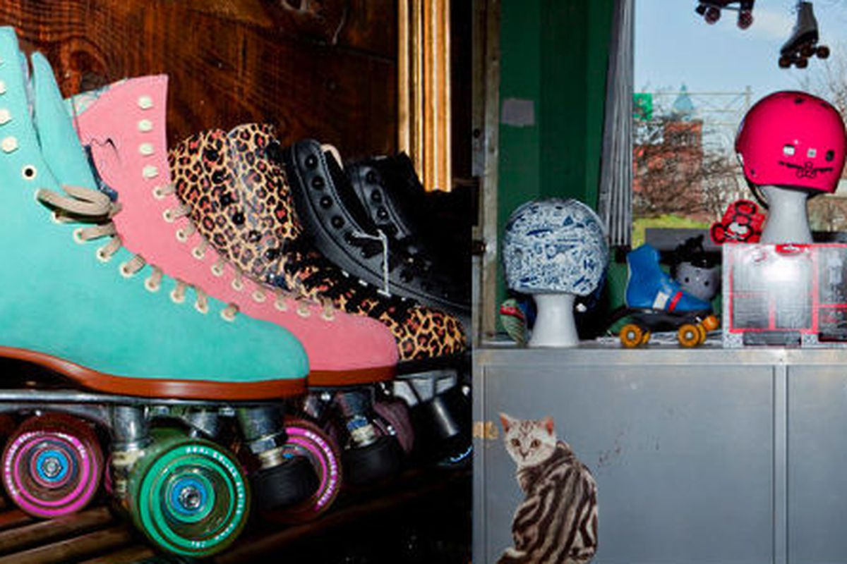 """Images via <a href=""""http://www.nytimes.com/2011/05/01/nyregion/five-stride-a-skate-shop-focused-on-roller-derby.html"""">NY Times</a>"""