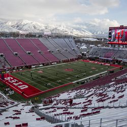 Snow blankets Rice-Eccles Stadium before the start of an NCAA football game between the Utah Utes and Colorado Buffaloes in Salt Lake City on Saturday, Nov. 30, 2019.