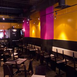 Inside, the familiar purple and yellow Burger Guys colors