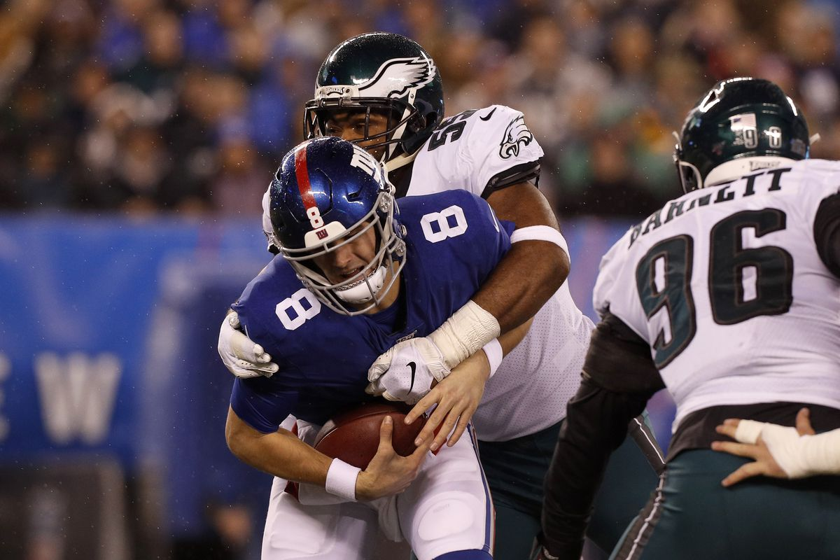 Brandon Graham #55 of the Philadelphia Eagles in action against Daniel Jones #8 of the New York Giants at MetLife Stadium on December 29, 2019 in East Rutherford, New Jersey. The Eagles defeated the Giants 34-17.