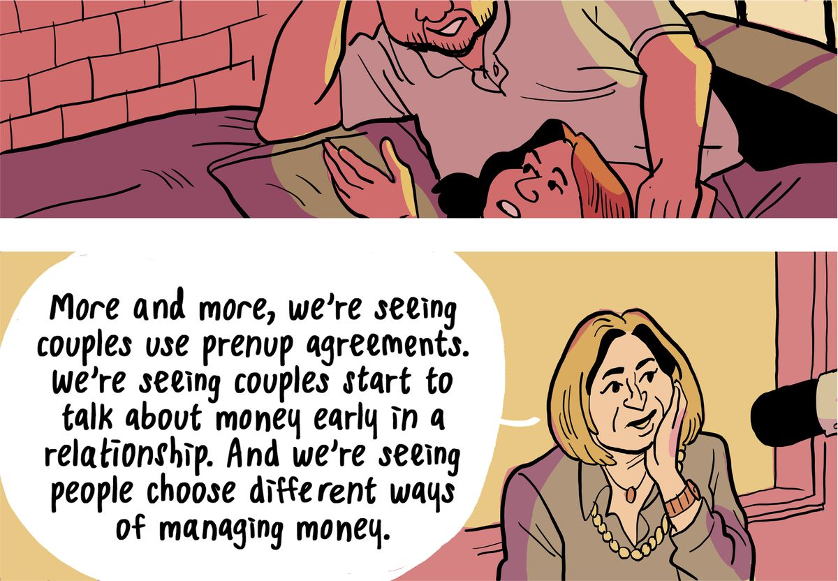 """Ilyce Glink: """"More and more, we're seeing couples use prenup agreements. We're seeing couples start to talk about money early in a relationship. And we're seeing people choose different ways of managing money."""""""